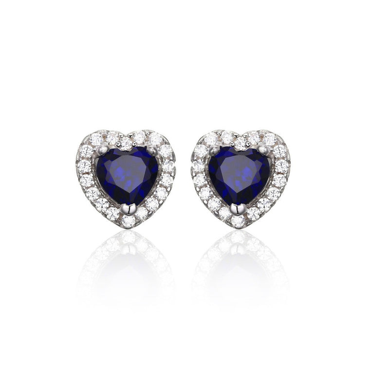 Blue Sapphire 925 Sterling Silver Stud Earrings Heart Of The Ocean 1.2ct