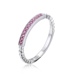 Pink Sapphire Rope Band Stackable Ring