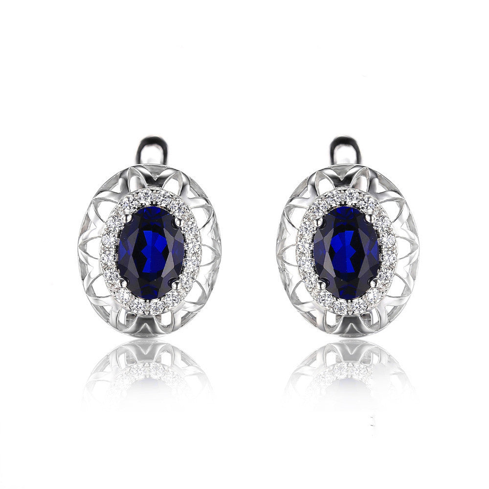 Blue Sapphire Clip On Earrings 925 Sterling Silver