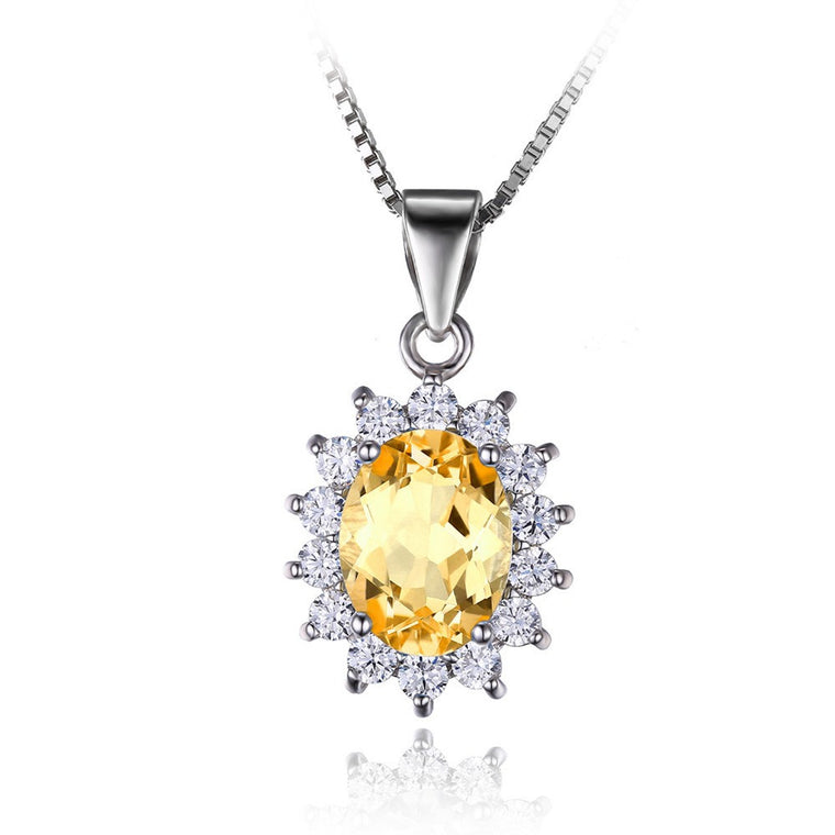 Natural Citrine Halo Pendant Sterling Silver