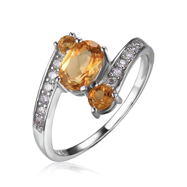 Sterling Silver Citrine Stone Ring Oval Cut