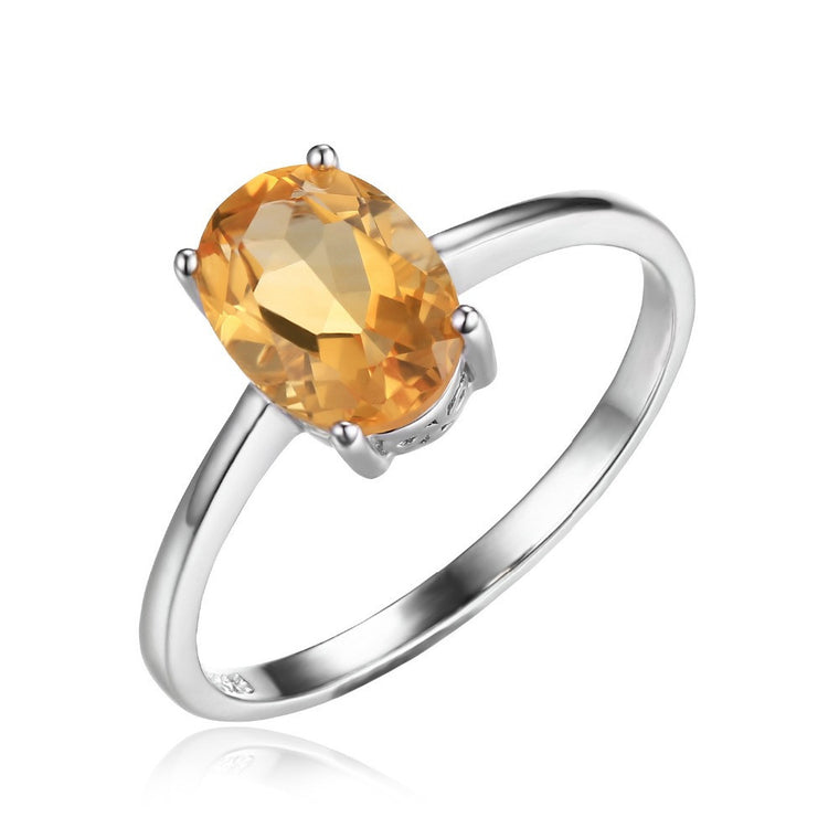 Oval Natural Citrine  Solitaire Ring