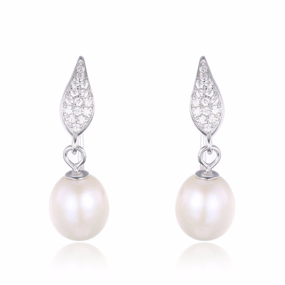 925 Sterling Silver  Cultured 8-9mm White Pearl Dangle Earrings
