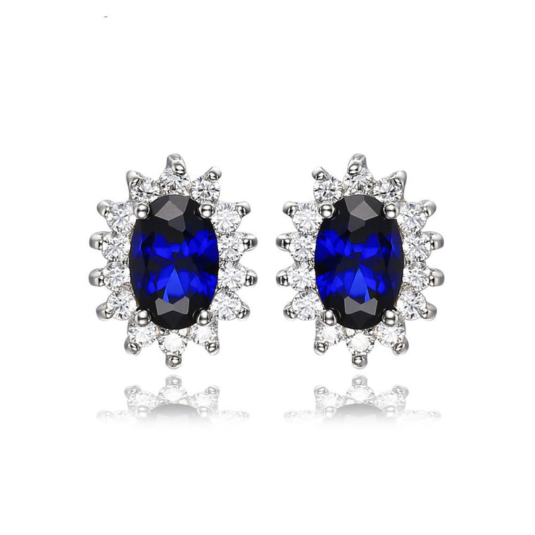 Oval Blue Sapphire Earrings
