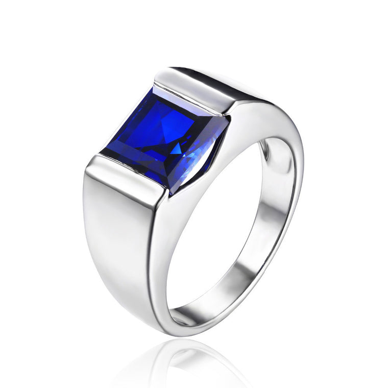 Blue Sapphire Mens Ring Solid 925 Sterling Silver