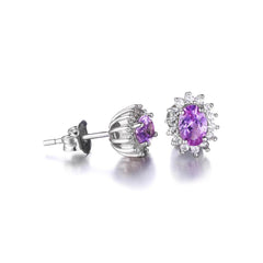 Oval Alexandrite Sapphire Stud Earrings Sterling Silver