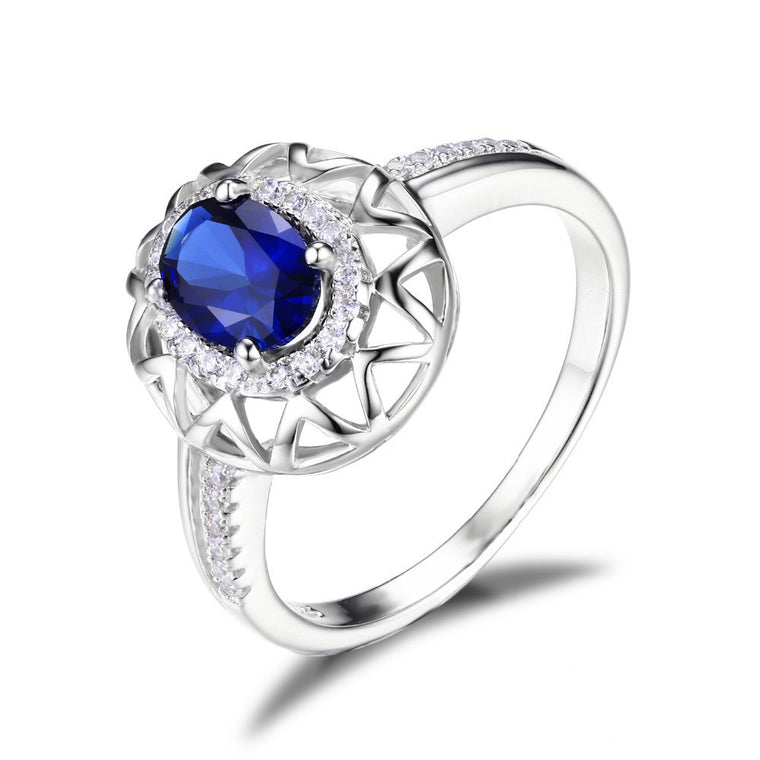 Blue Sapphire Ring 925 Sterling Silver