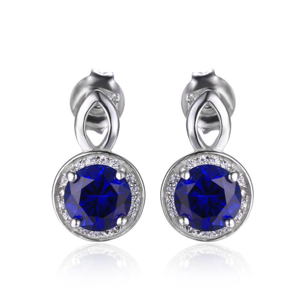 Round Cut 4.8ct Created Blue Sapphire Halo Drop Earrings