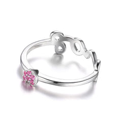 Pink Sapphire Love Heart Wrap Stackable Ring