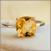 Natural Citrine Ring Sterling Silver