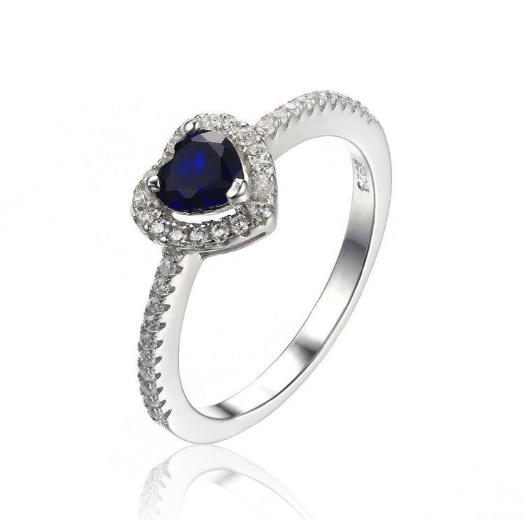 Heart Shaped Blue Sapphire 925 Sterling Silver Ring