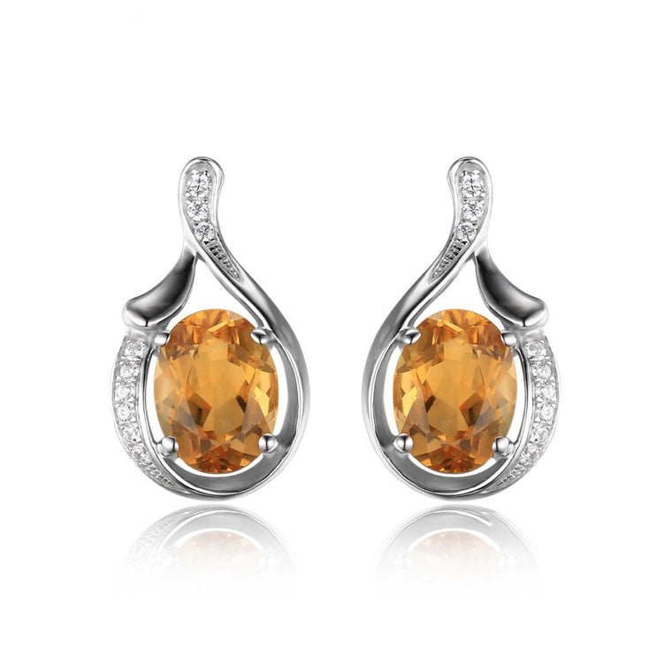 Oval Yellow Genuine Citrine Stud Earrings Solid Sterling Silver