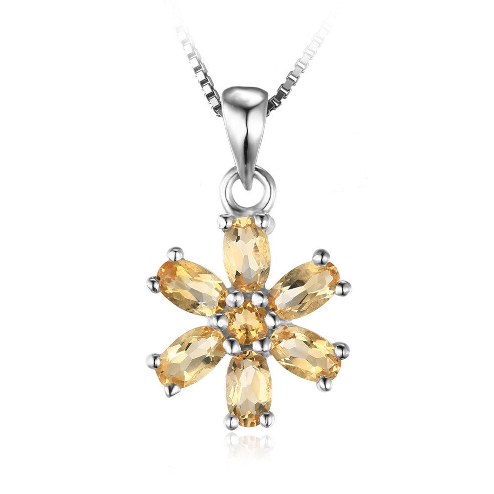 Citrine Flower Bloom Pendant Sterling Silver