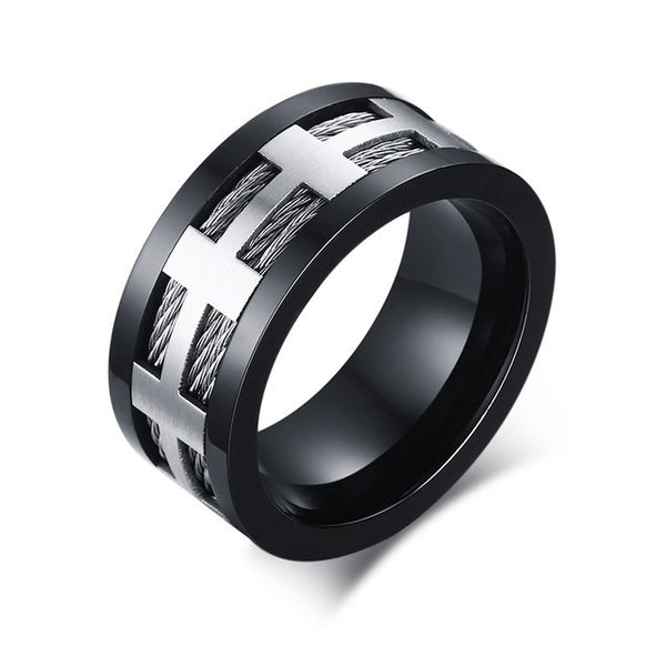 Men's Ring Stainless Steel Punk Rock Ring With Wire Cubic Zirconia