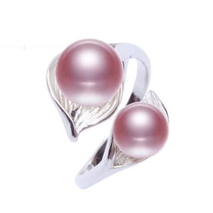 Sterling Silver Double Pearl Ring