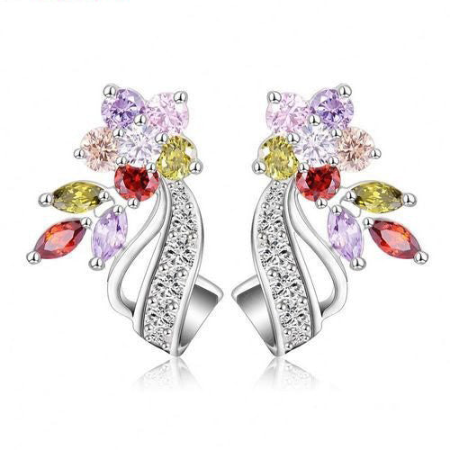 Flower Stud Earrings Multicolor/Clear AAA Zirconia Stone