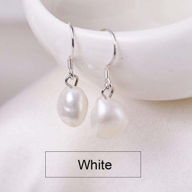 925 Silver Freshwater Pearl  French Hook Earrings