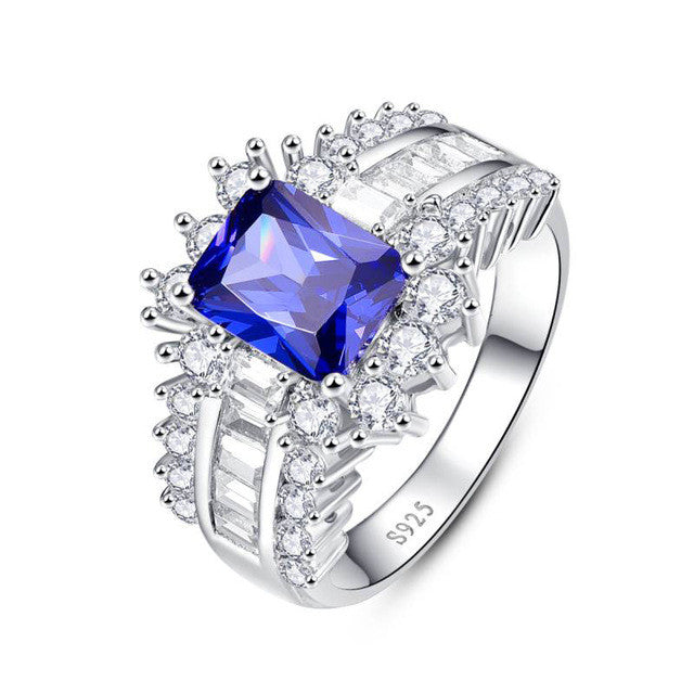 5.6ct Blue Sapphire Ring 925 Silver Ring