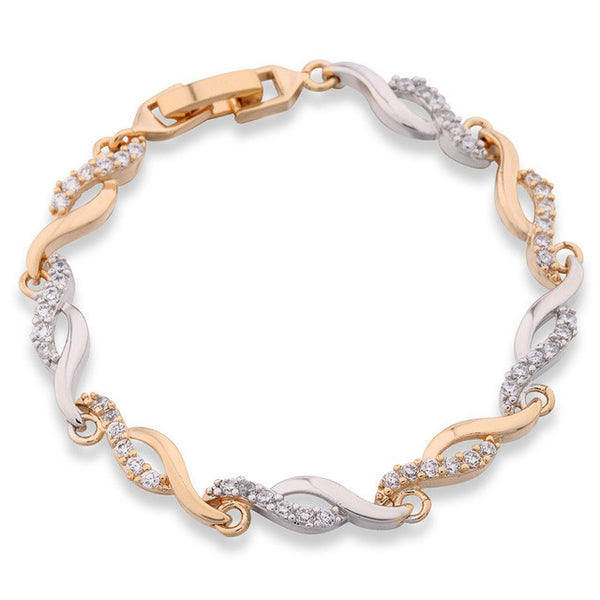 CZ Hand Link Chain Bracelet Yellow Gold Color