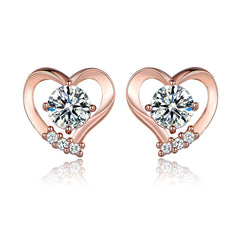 Rose Gold-Color Heart Cubic Zirconia Crystal Stones Stud Earrings