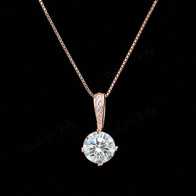Cubic Zirconia Chain Necklace Rose Gold Color