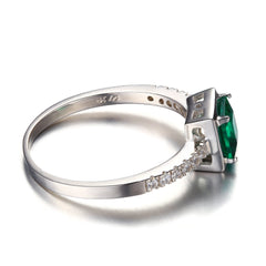 Green Emerald Solitaire Ring Solid 925 Sterling-Silver-