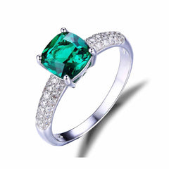Green Emerald Solitaire Ring 925 Sterling Silver