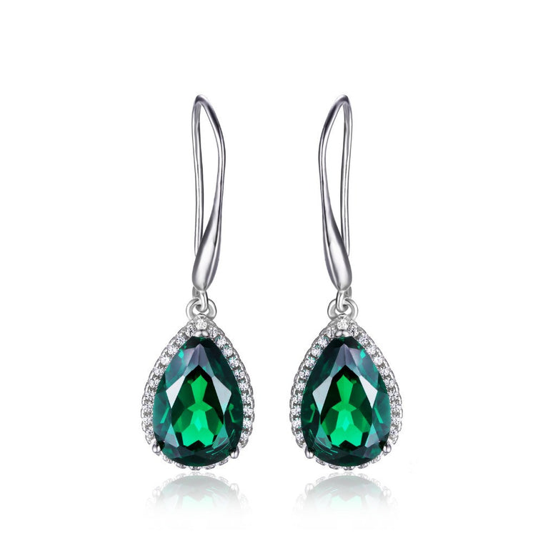 Green Emerald Dangle Earrings Solid 925 Sterling Silver