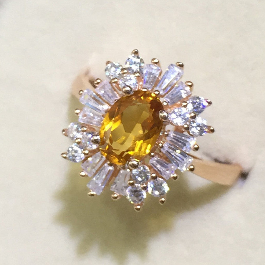 Citrine and CZ Ring