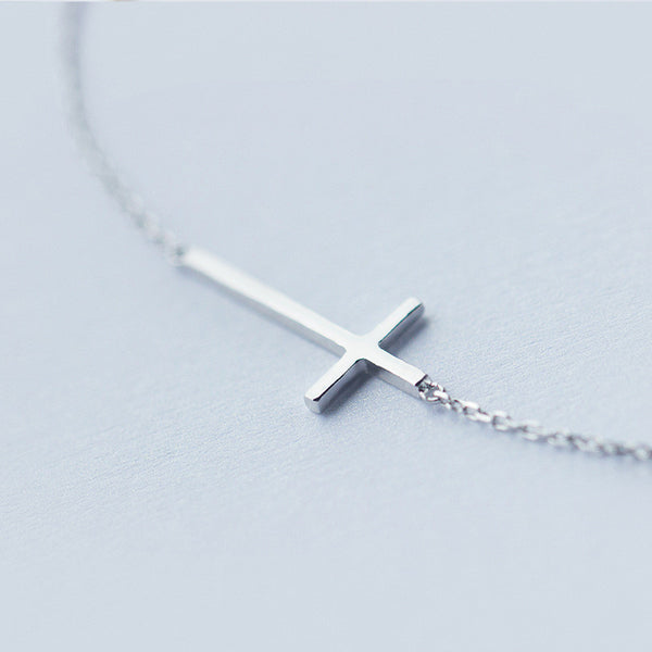 Sterling Silver Crucifix Rolo Chain Bracelet
