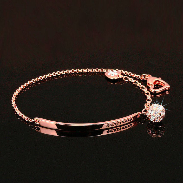 Cubic Zirconia Ball  Charm Bracelet Rose Gold Color