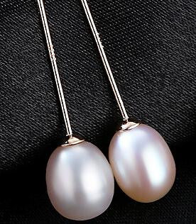 Silver Earrings 8-9mm Natural Rice Pearl Drop