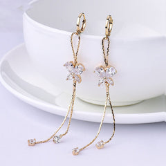 Gold-color Crystal Cubic Zircon Earrings