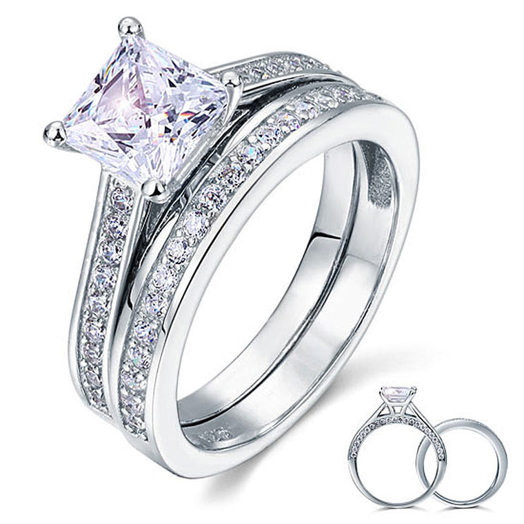 Princess Cut Solid Sterling Silver Ring Set