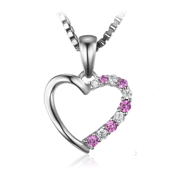 Pink Sapphire Heart Pendant Genuine 925 Sterling Silver