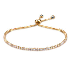 Adjustable Bracelet  2mm Cubic Zirconia Gold Color