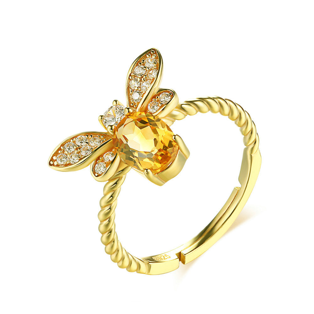 Lovely Bee Natural Citrine Ring