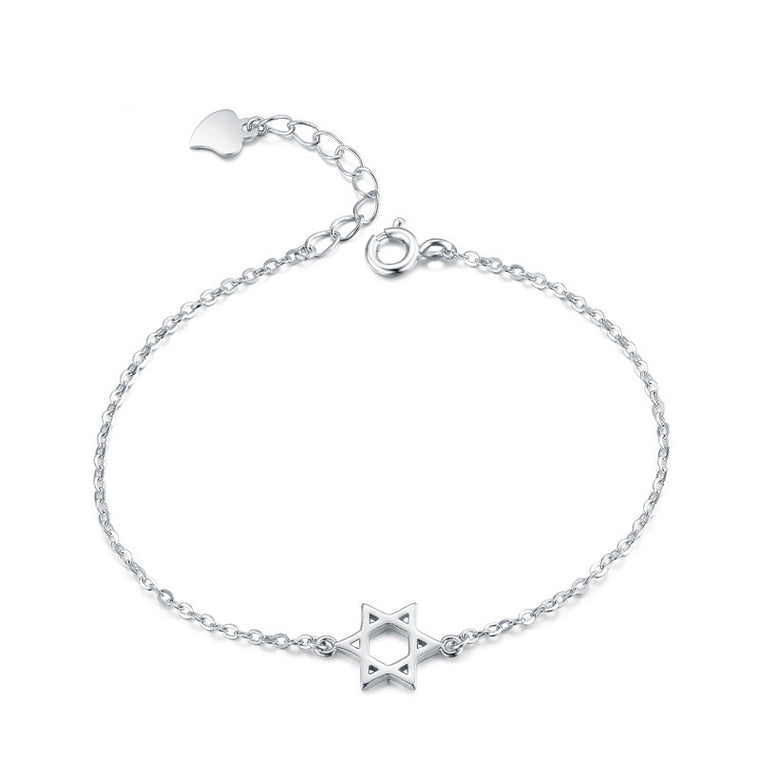 Sterling Silver Star of David Chain Bracelet
