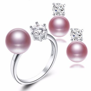 Natural Purple Pink White Black Pearl Earrings Ring Sets