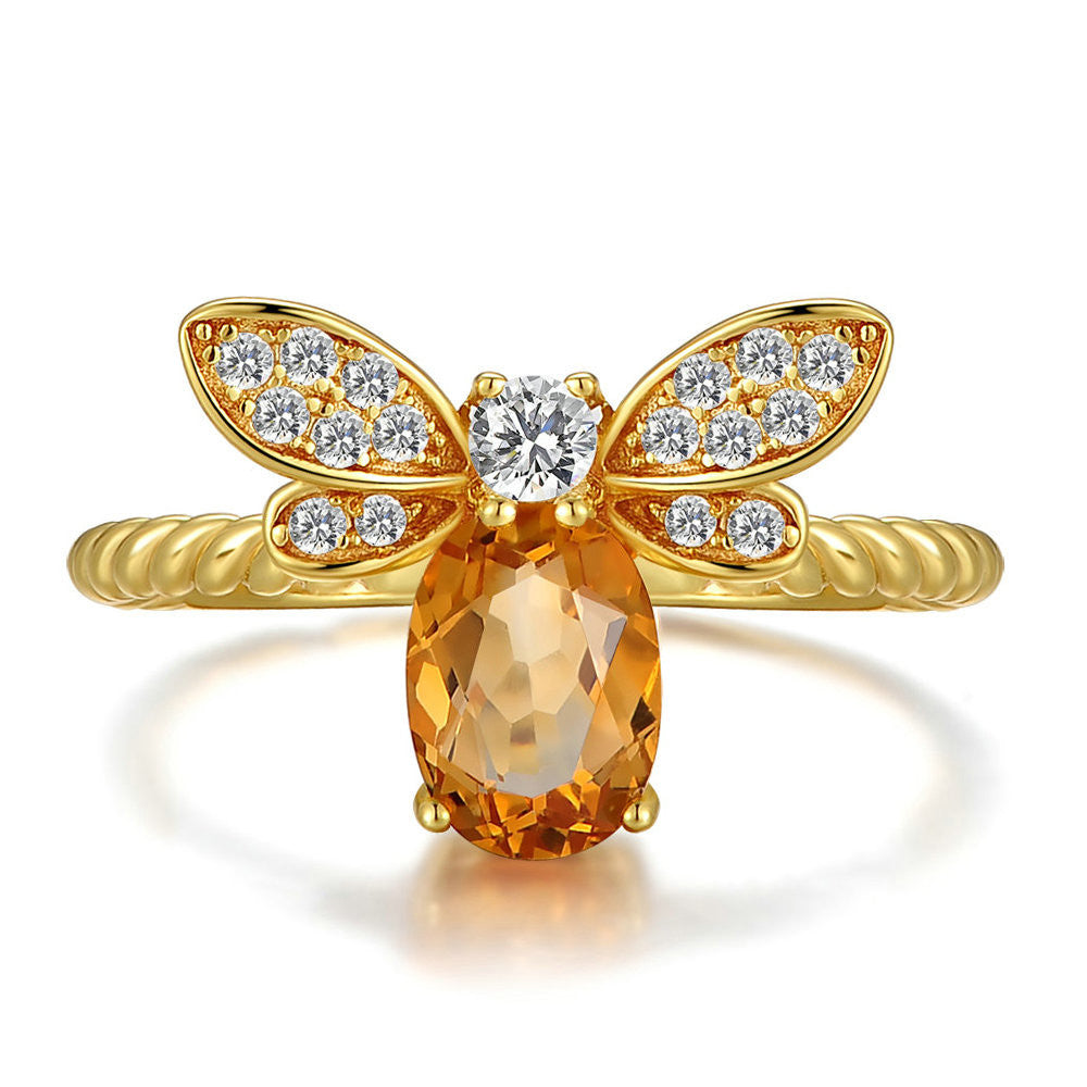 Bee Shaped Citrine Sterling Silver Ring with Gold Plate