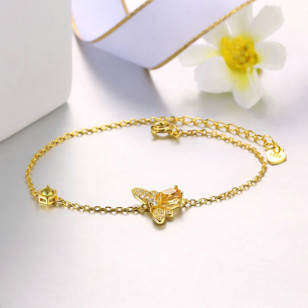 Citrine Bracelet Yellow Gold Plated