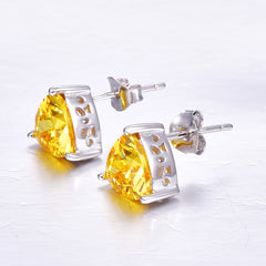 Yellow Citrine Stud Earrings