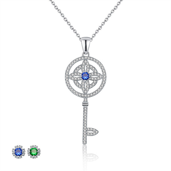 Sterling Silver Necklace Sapphire Key Pendant