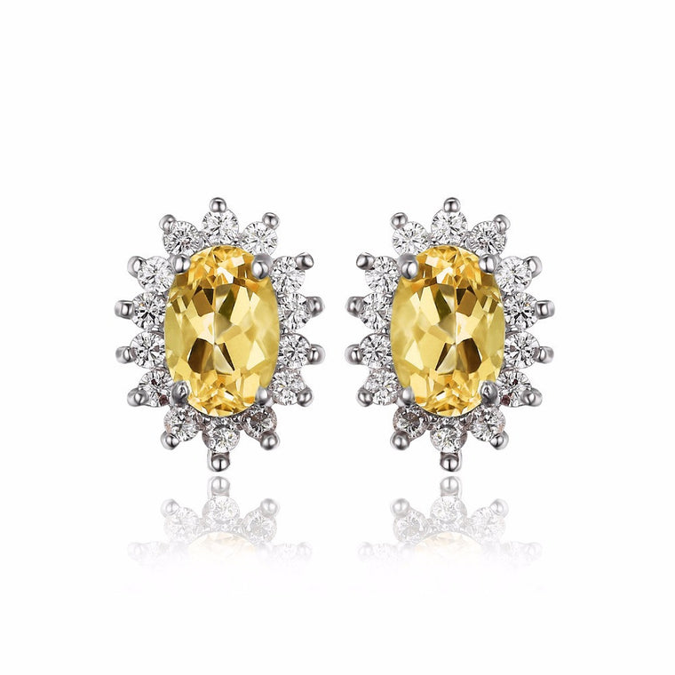 Natural Citrine Halo Stud Earrings Sterling Silver