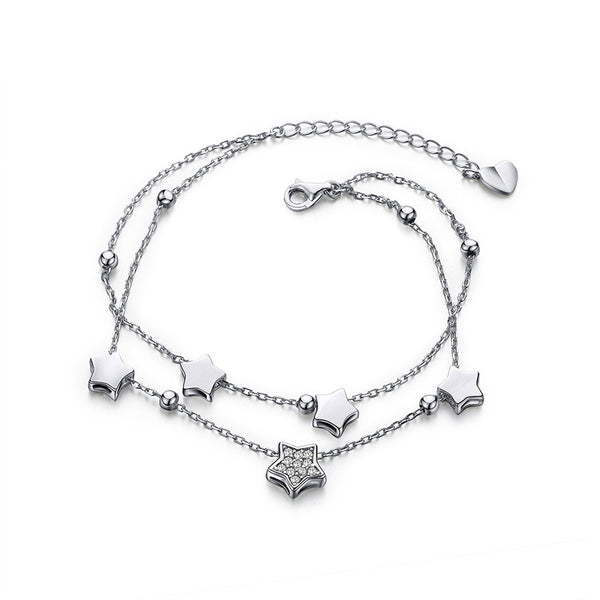 Star Sterling Silver Two Layered  Bracelet