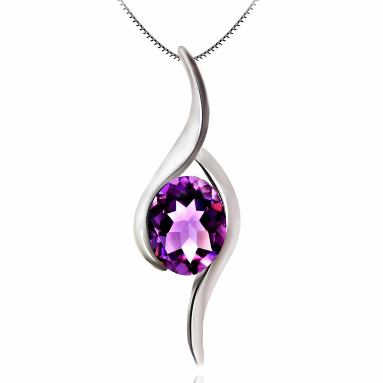 Amethyst Gemstone Pendant Solid Sterling Silver