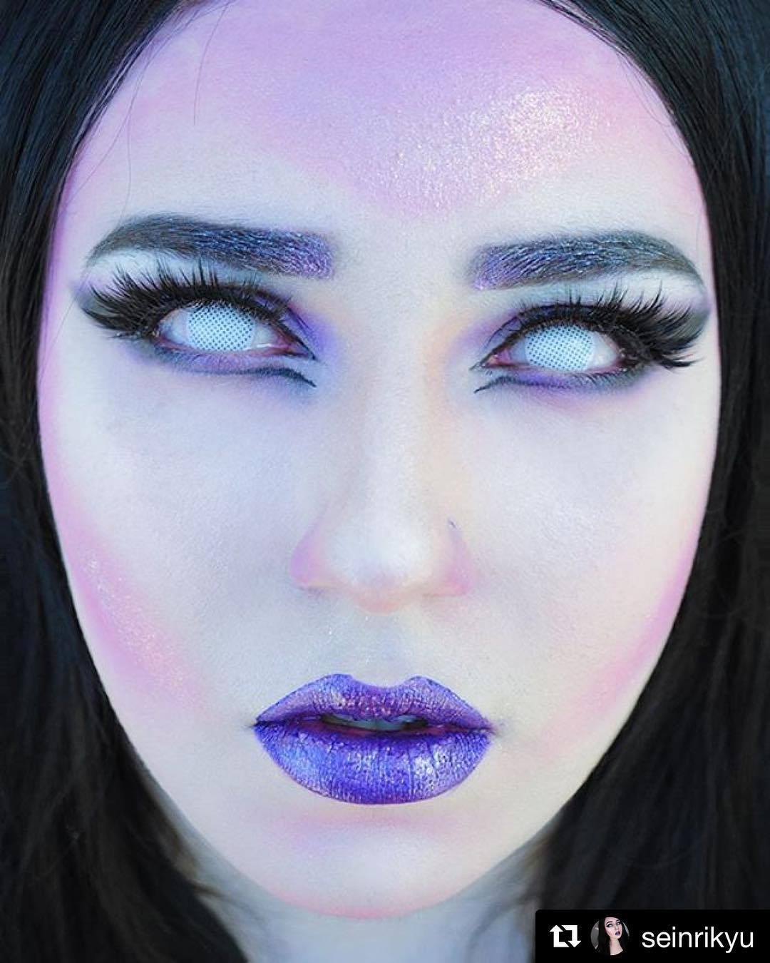 sfx white mesh (prescription) ohmykitty online store White Bright Blue Contacts these amazing contacts has tiny holes that allows you to see but yet whites out your pupil these are great and perfect for a futuristic halloween costume