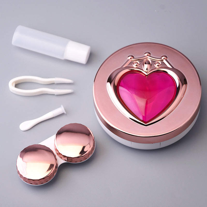 Metallic Rose Gold Pink Heart Lens Case - Ohmykitty Online Store