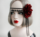 Black Lace Veil With Red Rose Flower - Ohmykitty Online Store