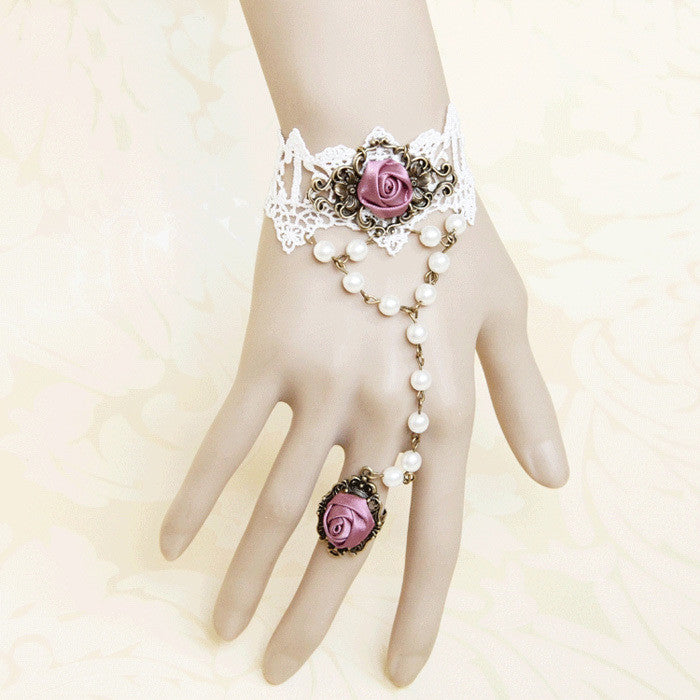 Pink Vintage style White Pearl Hand Harness / bracelet